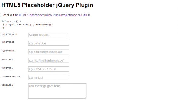 HTML5 Placeholder jQuery Plugin