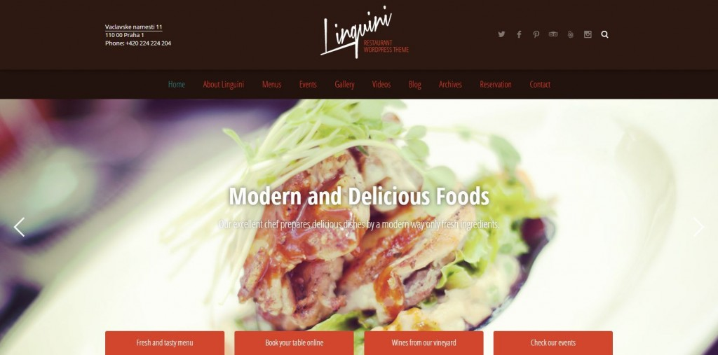 Linguini - Restaurant Responsive WordPress Theme