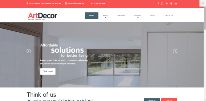 ArtDecor - Interior Design Responsive WordPress Theme