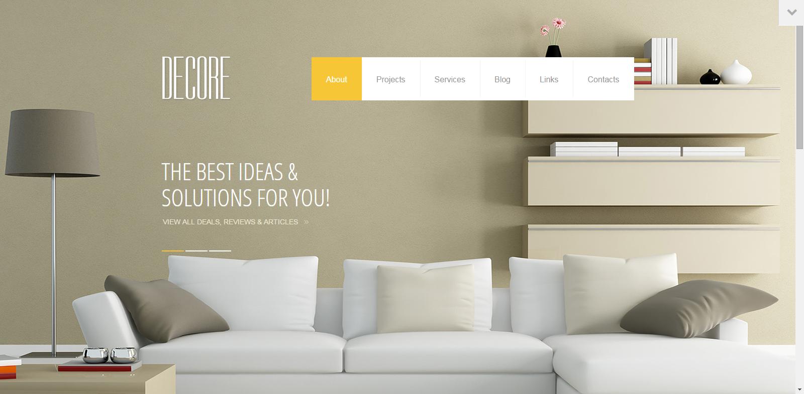 20 modern interior design furniture wordpress themes for Interior decor wordpress theme
