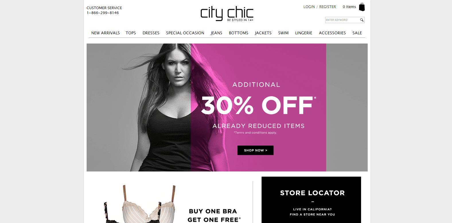 Magento Ecommerce Design - City Chic Online