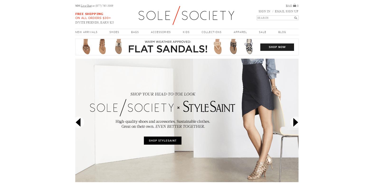 Magento Ecommerce Design - Sole Society